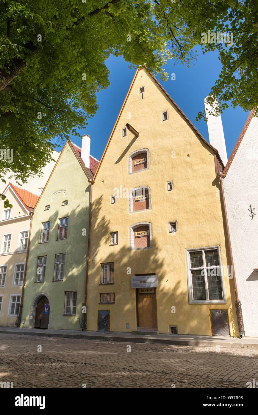 a quiet street in the historic center of Tallinn, Estonia - Stock Image