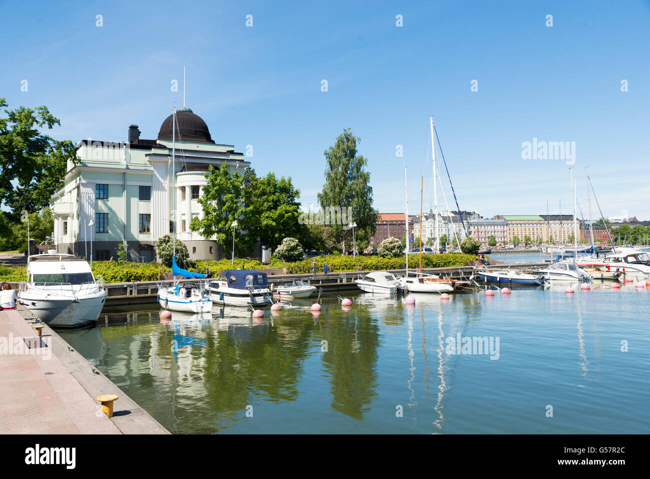Helsinki South Quay in a sunny summer day. - Stock Image