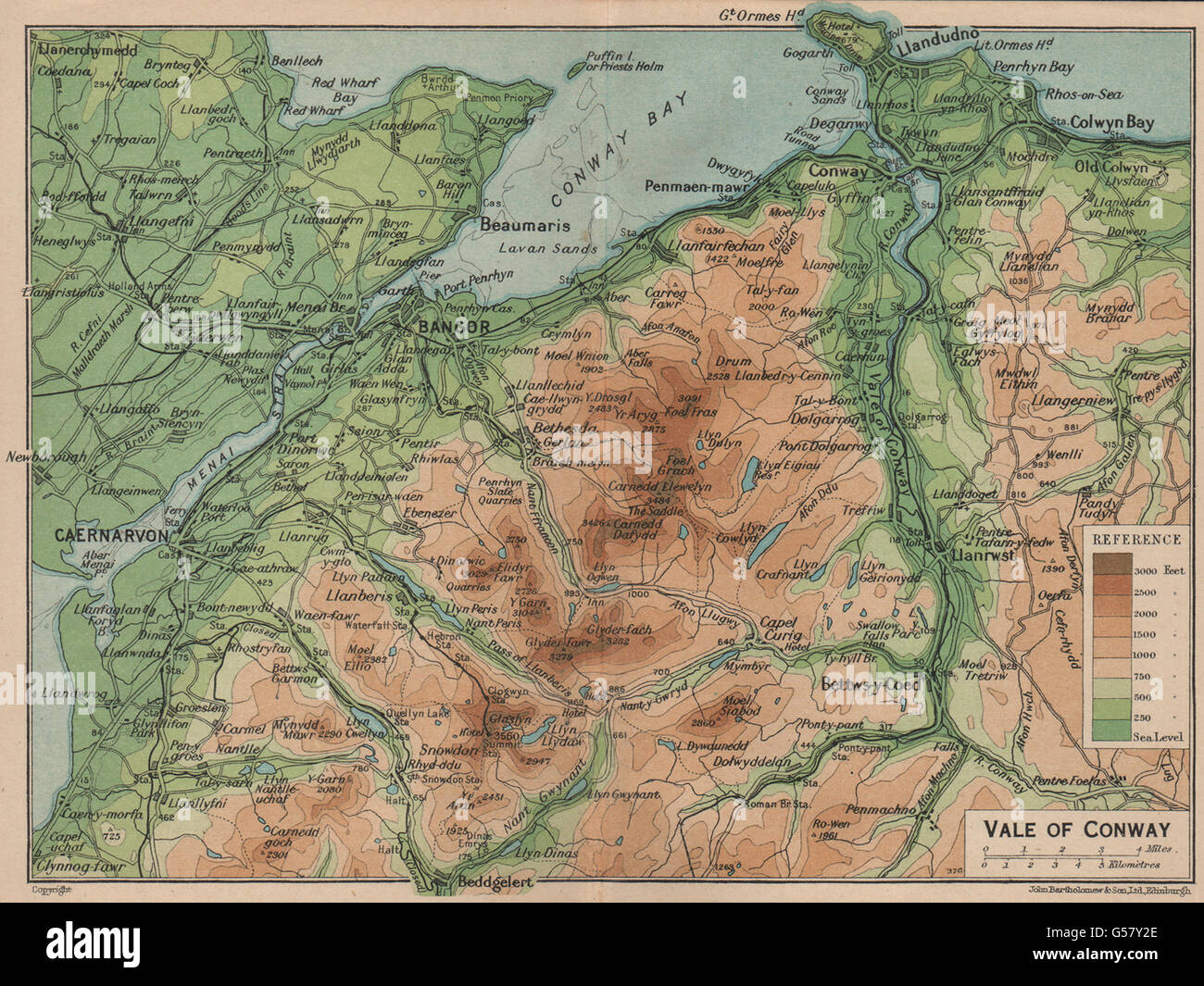 Wales 1910 Llandudno Llanwrst Betws-y-Coed CONWY VALLEY topo-map CONWAY
