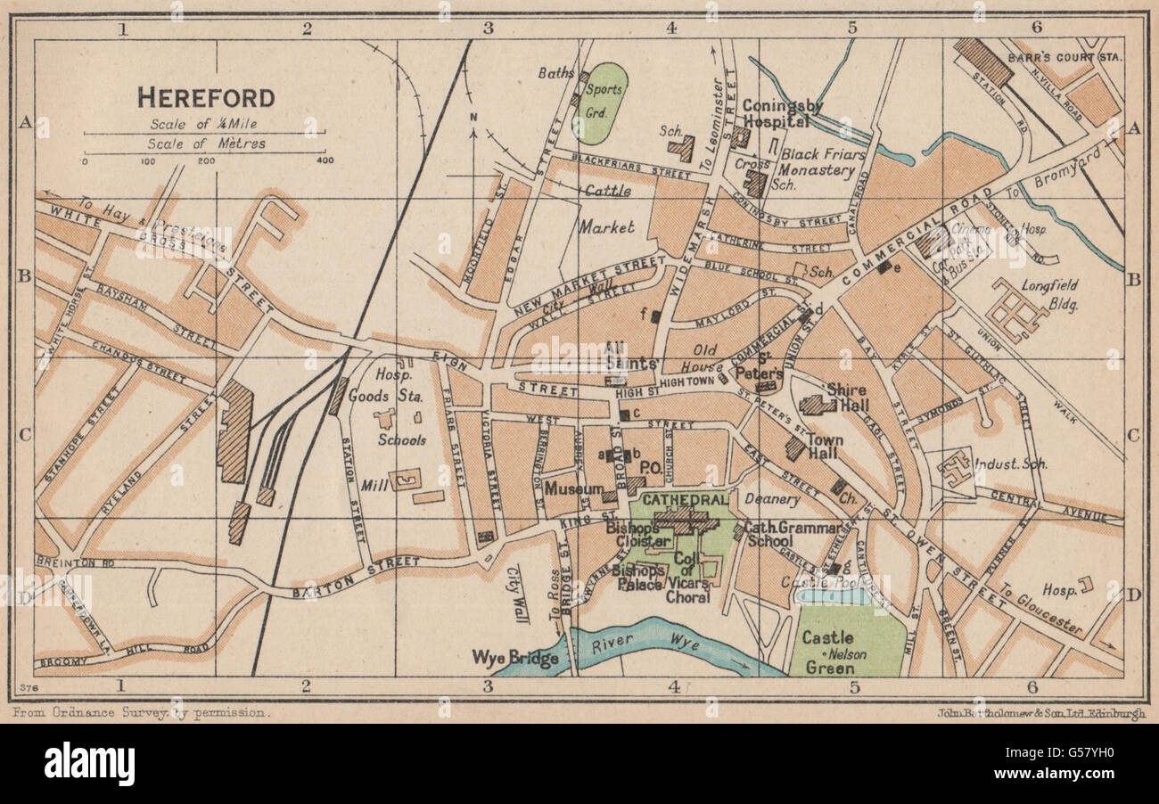 Hereford Antique Town City Plan Baedeker 1910 Map Broomy Hill Herefordshire