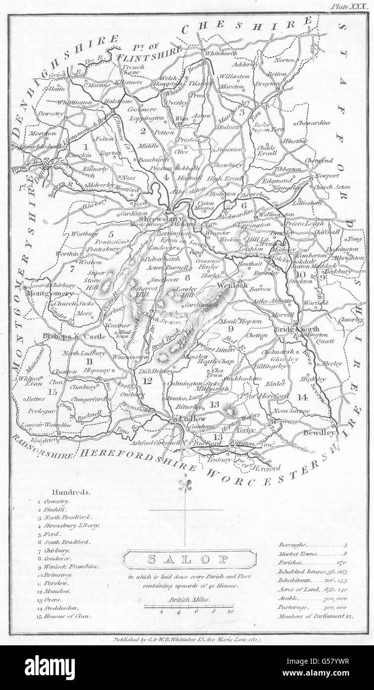 SHROPSHIRE: Shrops: Capper. Not That Common: Salop, 1824 antique map - Stock Image