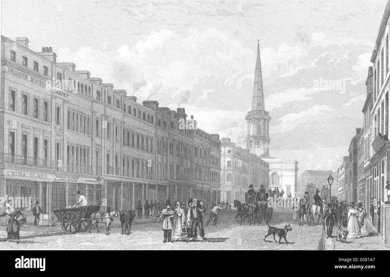 LIVERPOOL: Lord Street With St George's Church. (Pyne), antique print 1831 Stock Photo