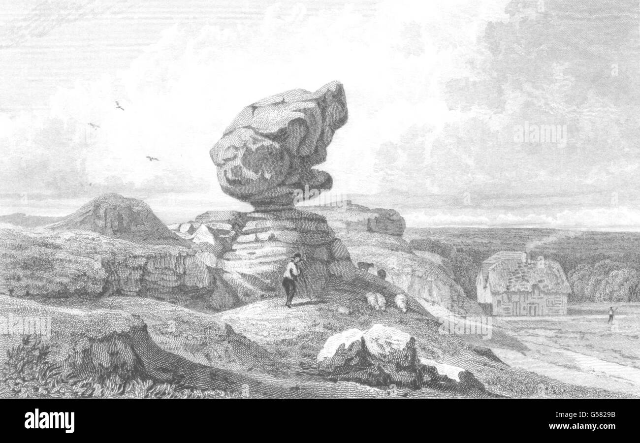 KENT: Singular Rocks on Rustall Common, nearTunbridge wells. Allen, print 1833 - Stock Image