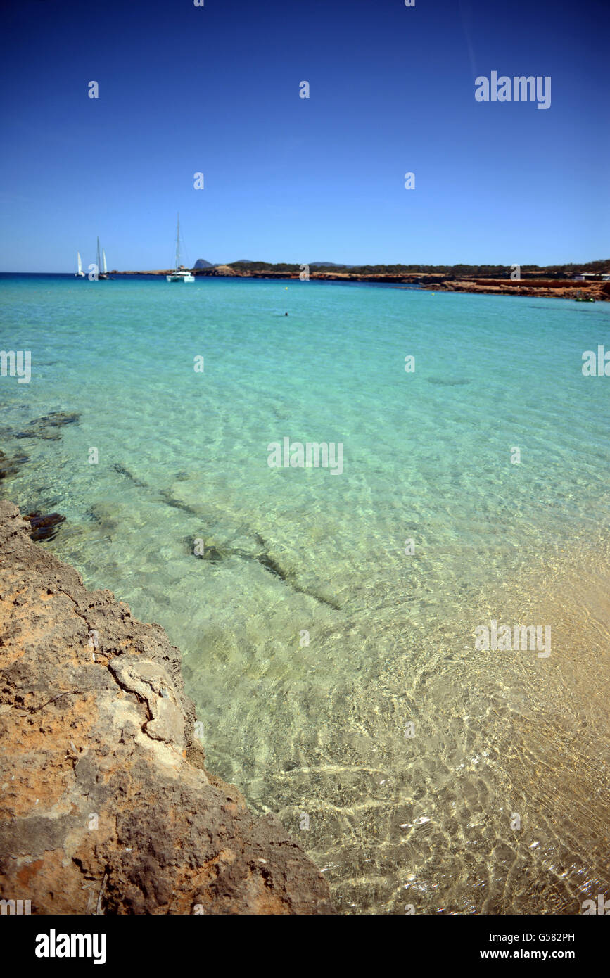 Cala Conta beach (Platges de Comte and Cala Compte) in Ibiza, Balearic Islands, Spain - Stock Image