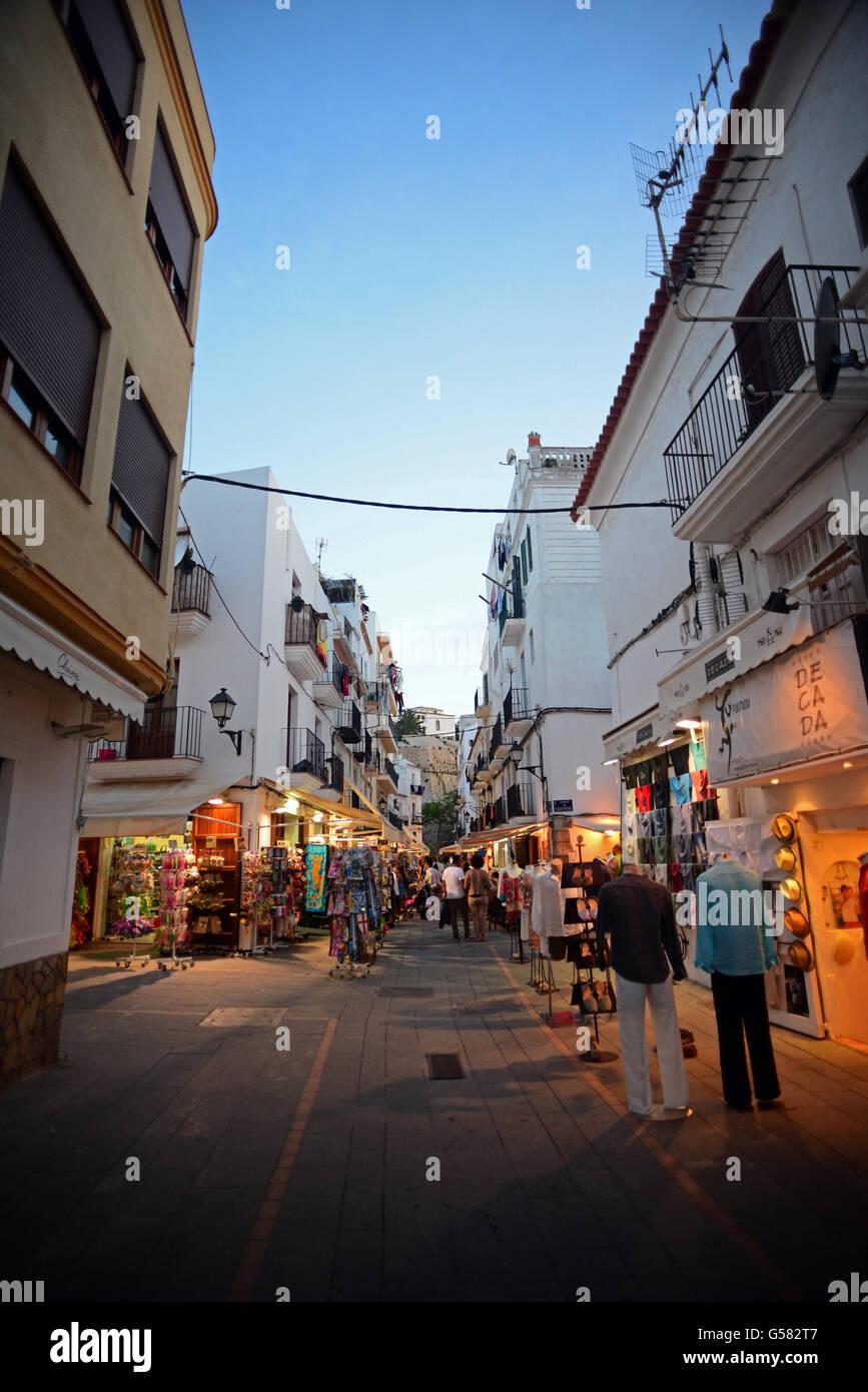 Ibiza town at night, Balearic Islands, Spain - Stock Image