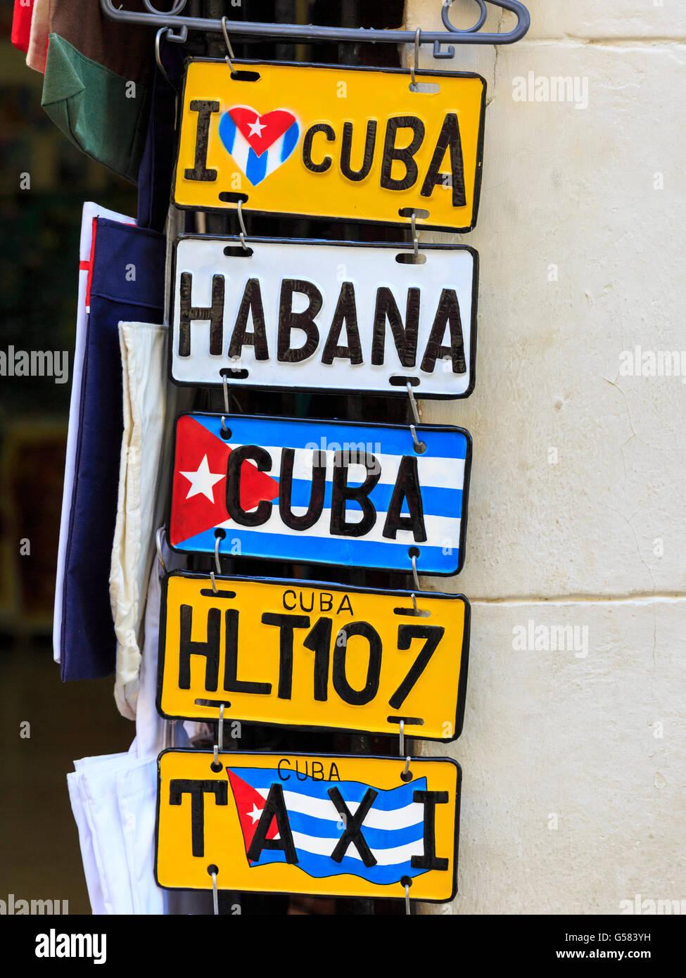 Souvenir gift car registration number plates in a shop in Havana, Cuba - Stock Image