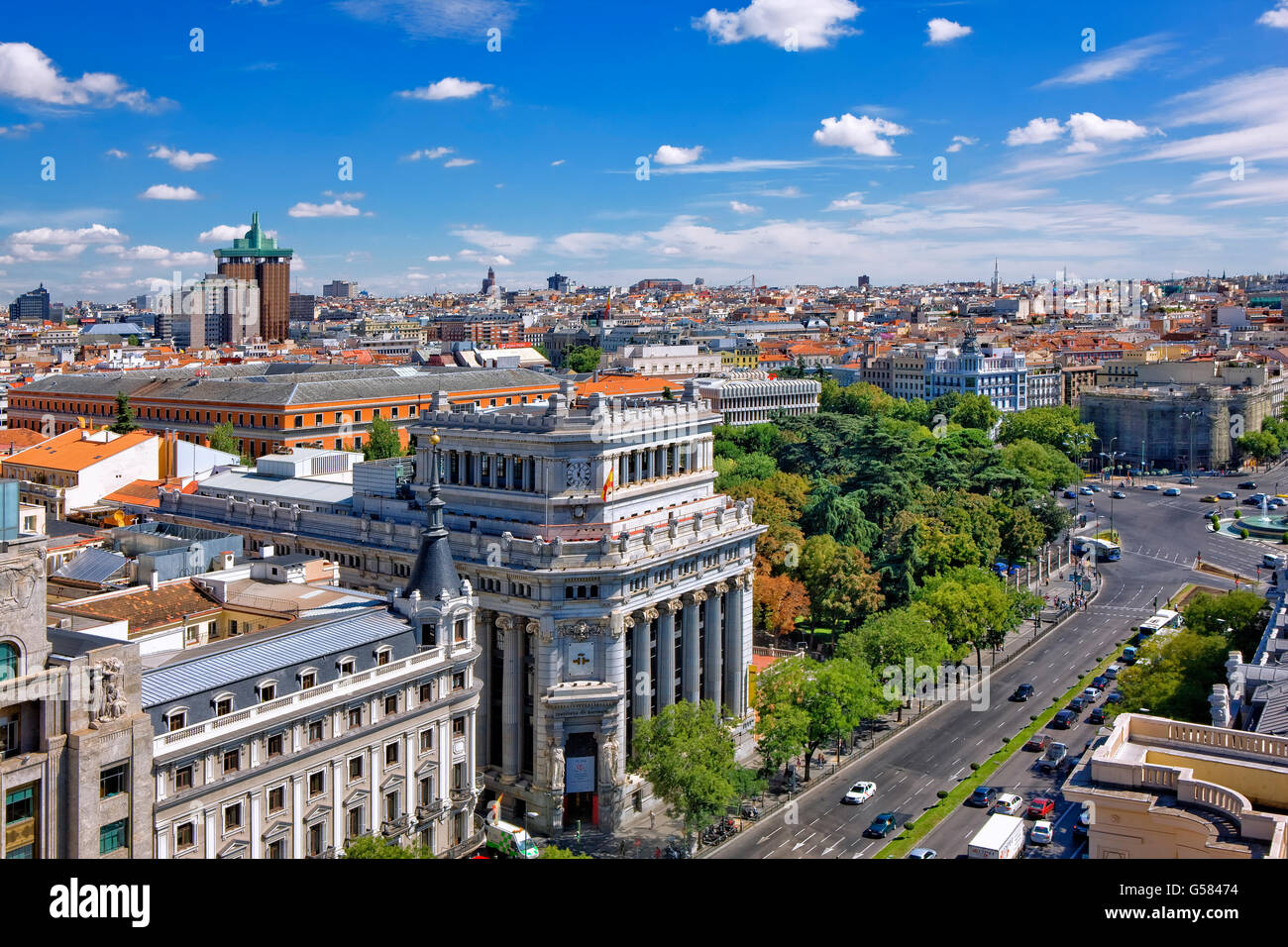 Overview of Calle de Alcala and Madrid Skyline - Stock Image