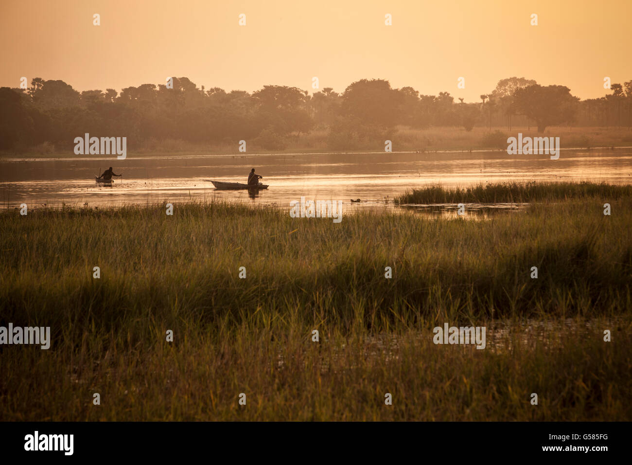Lake Tengréla scene near Banfora, Burkina Faso. - Stock Image