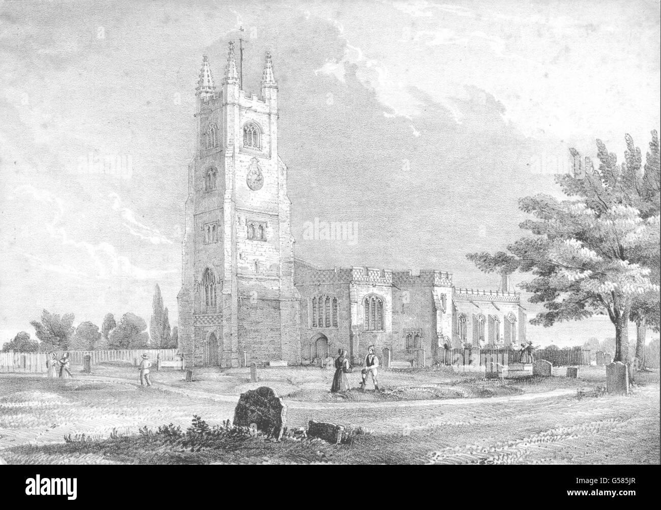 ESSEX: Prittlewell Church, Essex, antique print c1840 Stock Photo