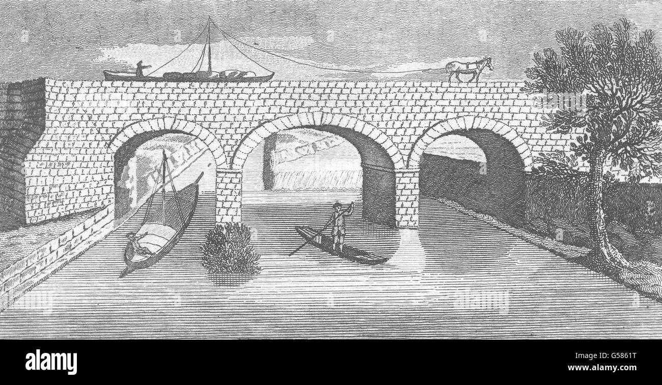 MANCHESTER: The Duke of Bridgewater's Aqueduct over River Mersey. Gents mag 1766 Stock Photo