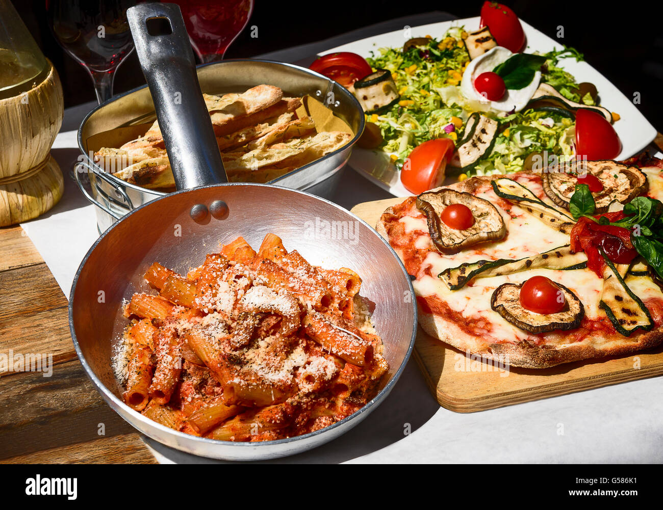 Pasta restaurant in Rome city Italy south Europe. Egg noodles, homemade food.Tasty and authentic Italian food. - Stock Image