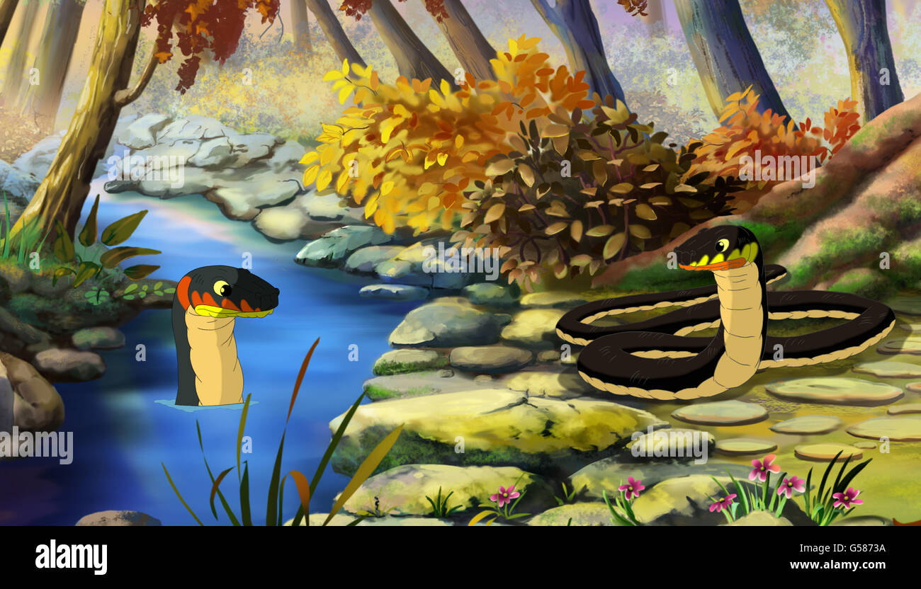 Two Dice Snakes (Natrix Tessellata) on Water and  on the River Bank. Digital painting  cartoon style full color - Stock Image