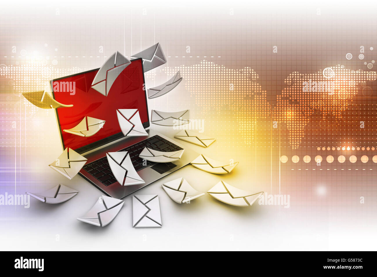 E-mail concept. Modern Laptop and envelope - Stock Image