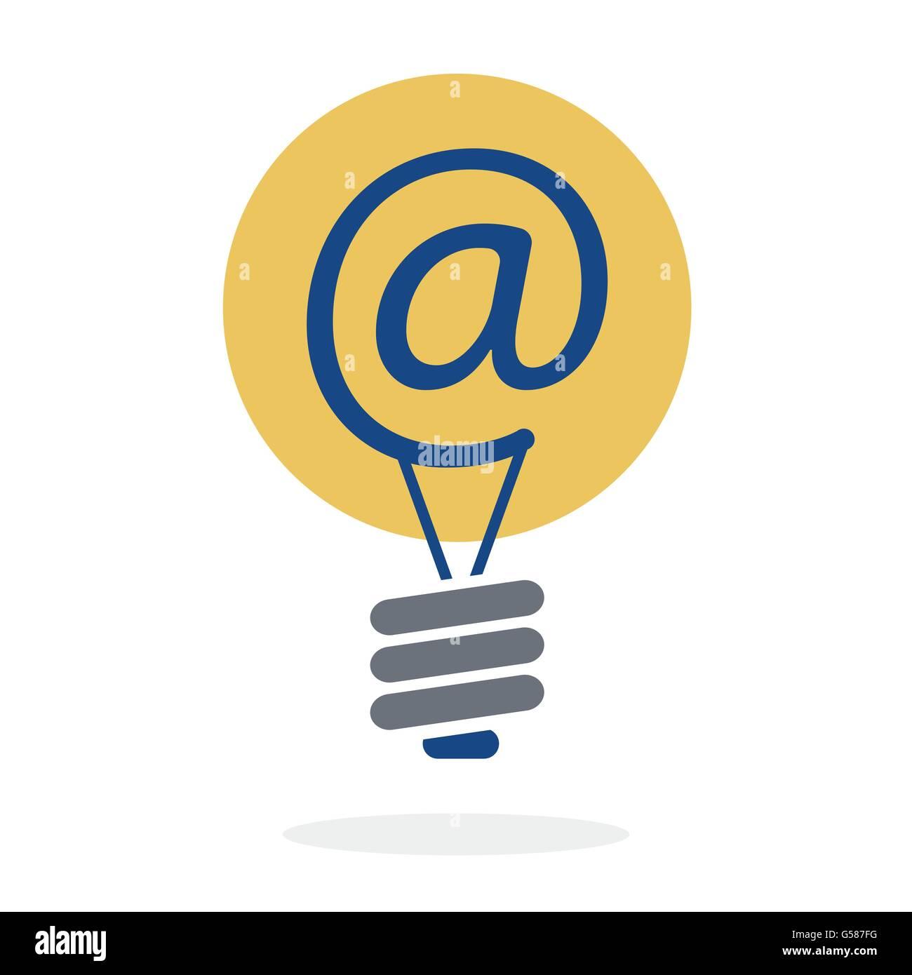 Symbol at in lightbulb as new idea sharing via e-mail concept vector design Stock Vector