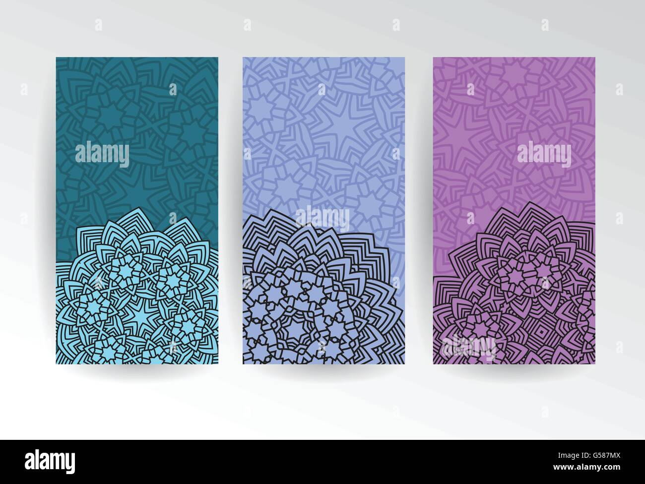 vertical web banners set with abstract flowers in mandala style vector illustration - Stock Image