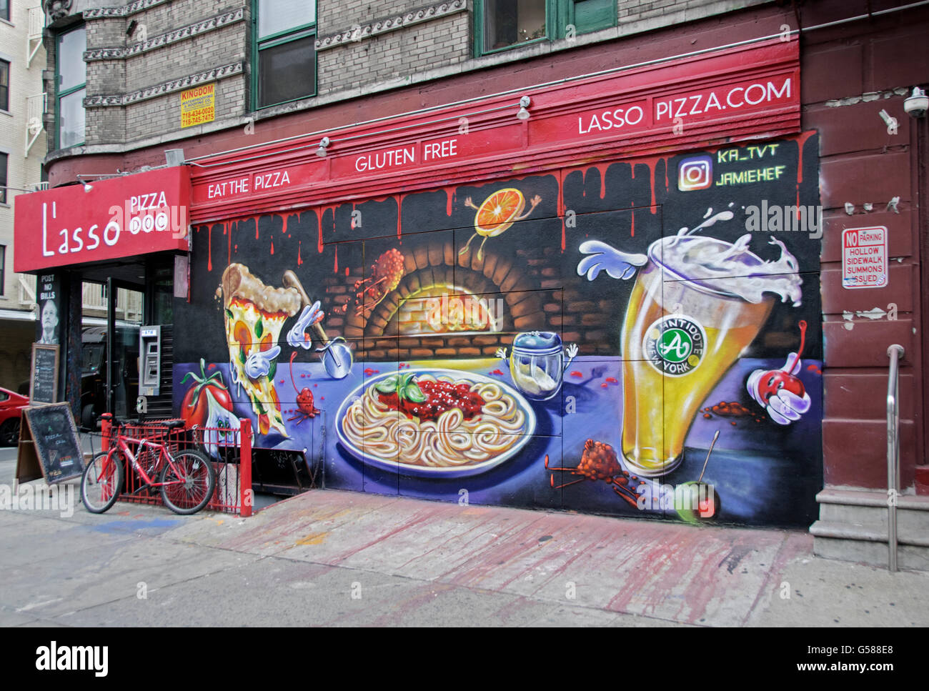 Graffiti Wall At The Side Of L Asso Italian Restaurant On