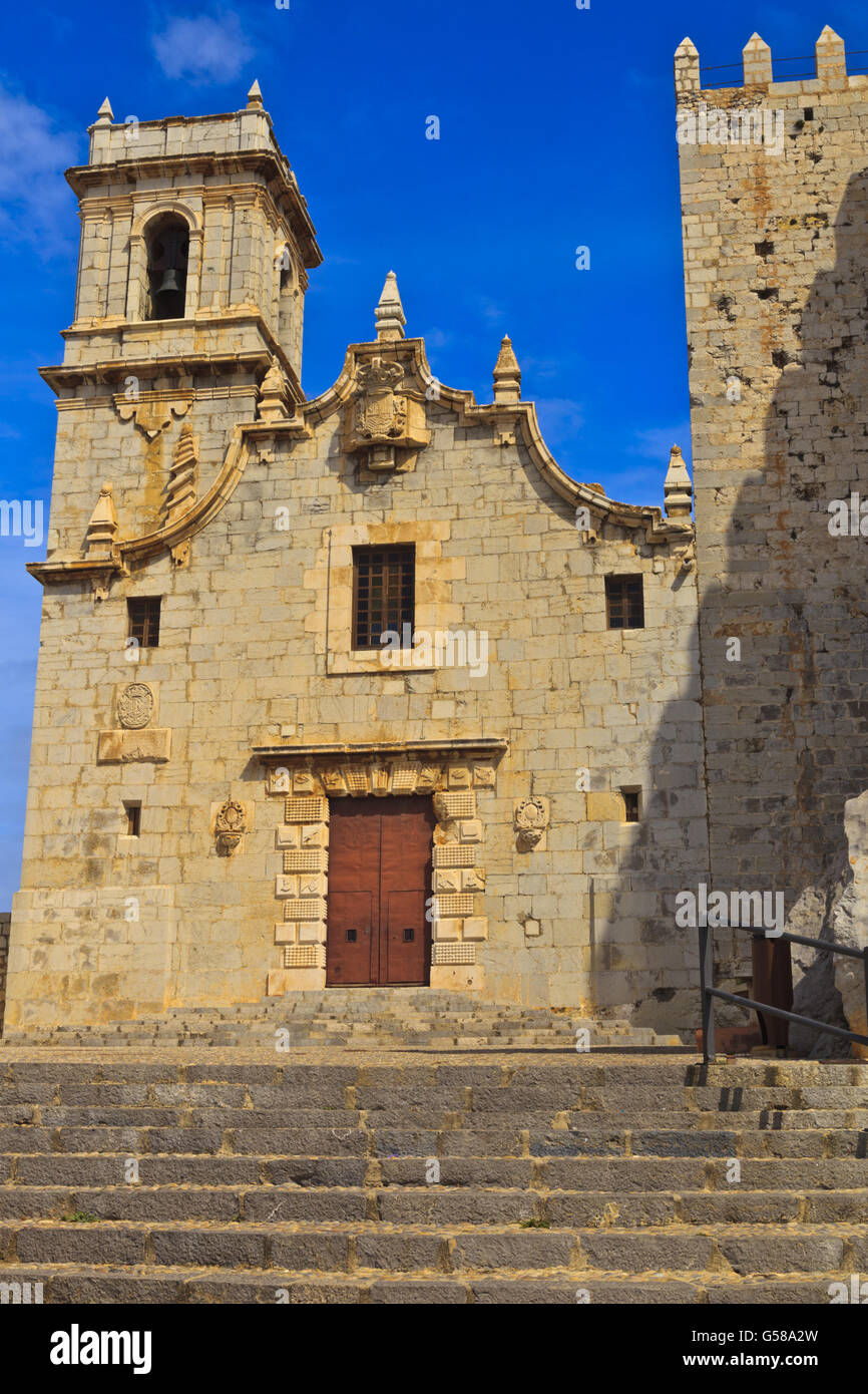 Church of Virgen del Socorro Peniscola Castle Spain - Stock Image
