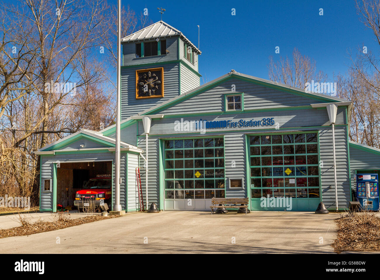 A Fire Station  on Centre Island, one of a of a small group of Islands just off of the Mainland and the City Of - Stock Image