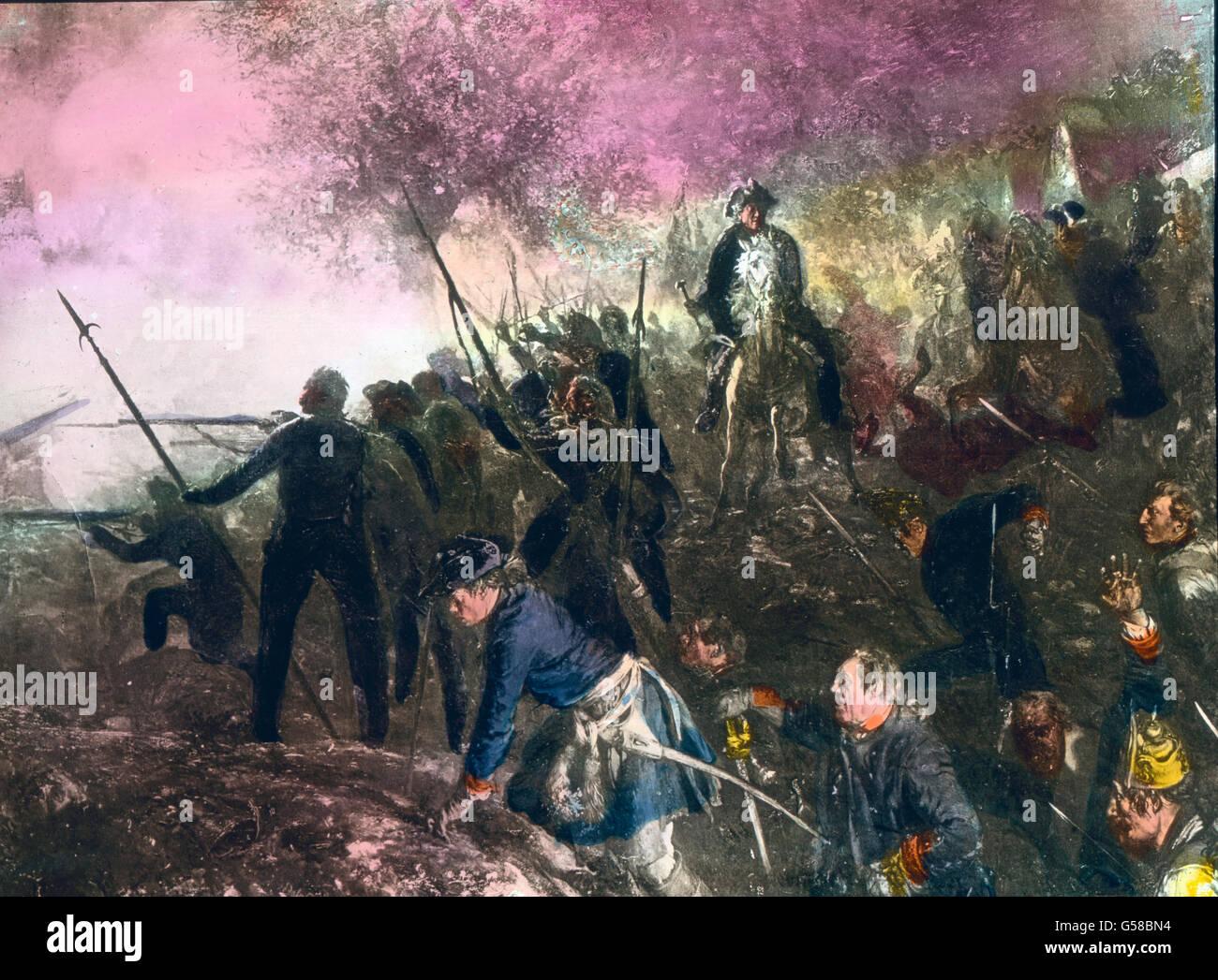 Friedrich der Große beim Überfall bei Hochkirchen  Germany, Prussia