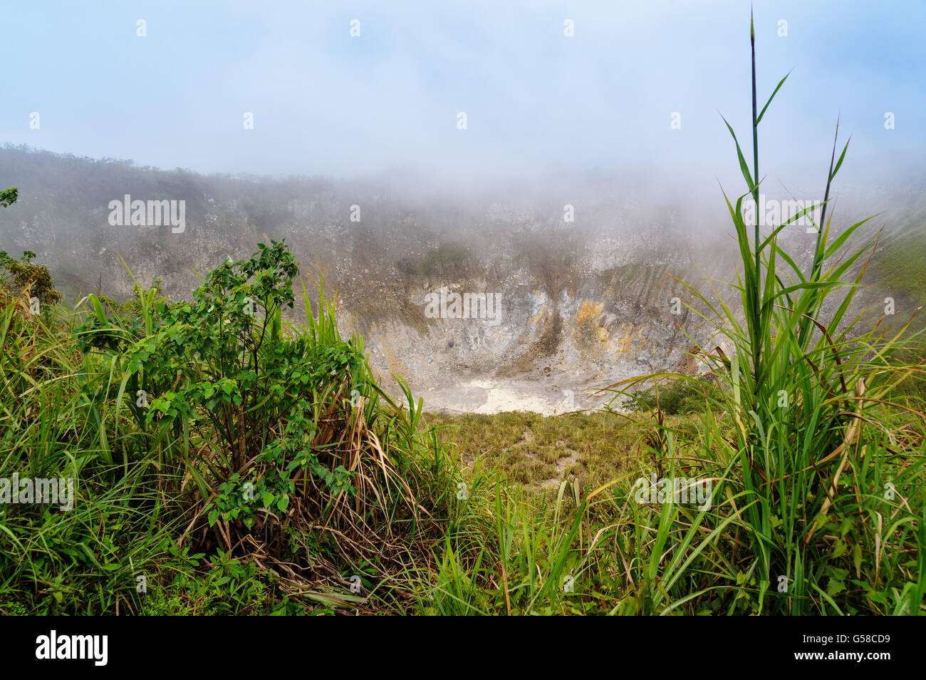 Crater of Volcano Mahawu near Tomohon. North Sulawesi. Indonesia - Stock Image