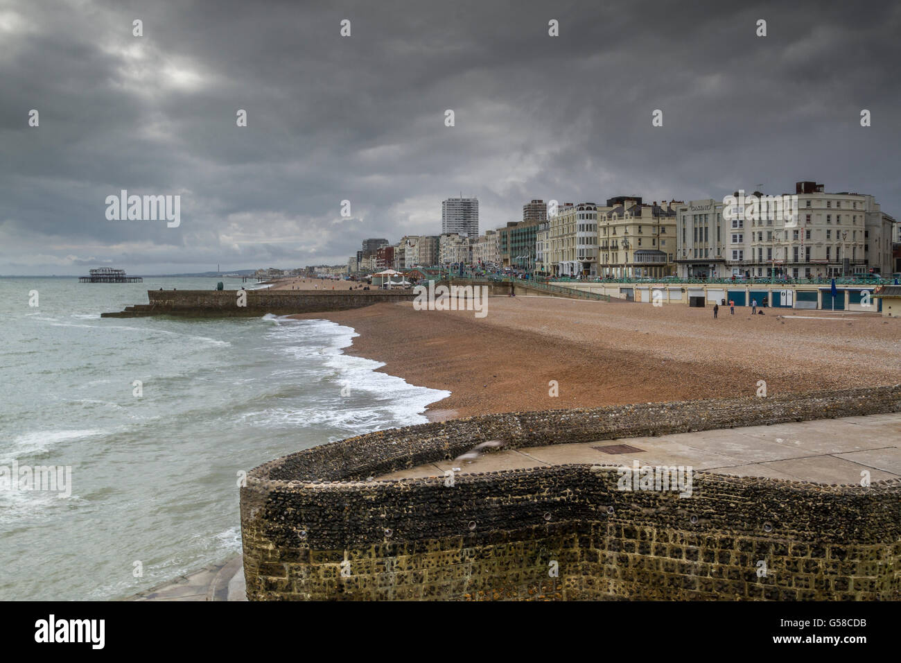 Cobbled Sea Wall on Brighton beach , Brighton Sea front  Front ' Brighton East Sussex,UK - Stock Image