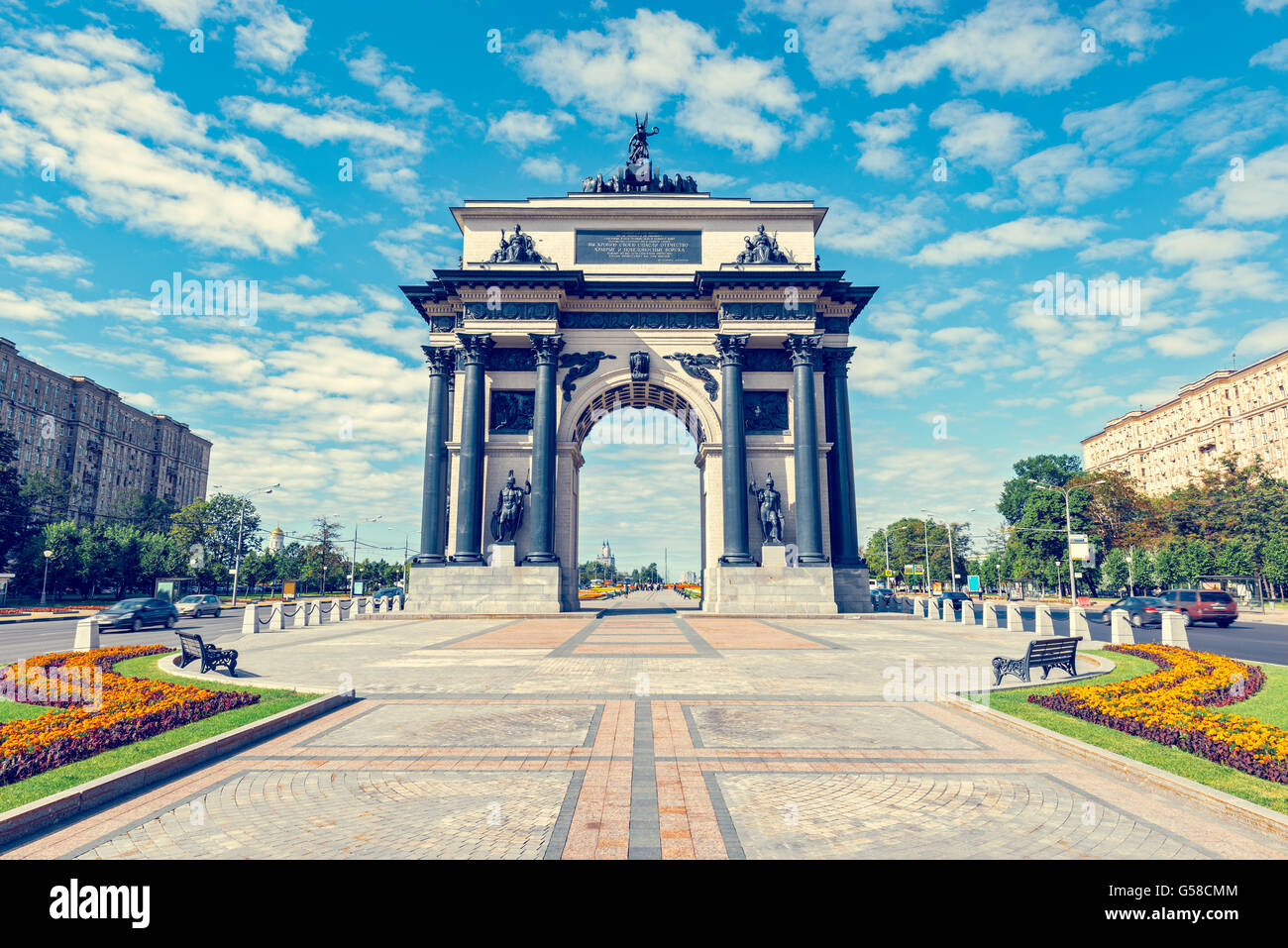 Triumphal Arch in Moscow, built in honor of the victory of the Russian people in the war of 1812. Kutuzov Avenue - Stock Image