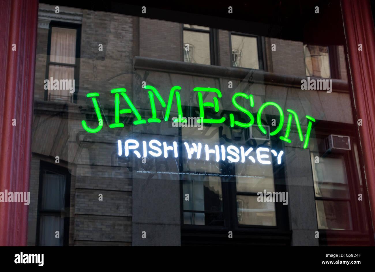 Jameson Irish Whiskey neon sign in a window of New York