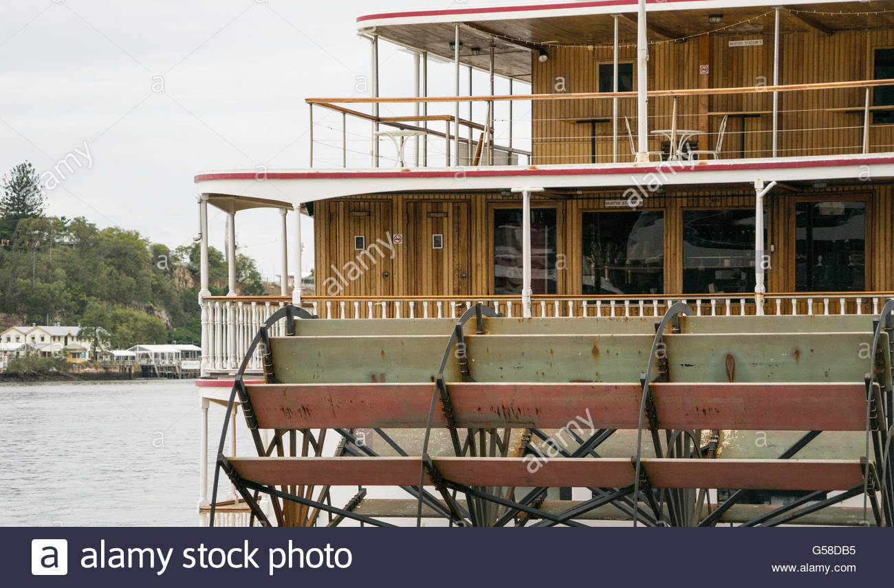Kookaburra River Queen paddle steamer Brisbane river, Queensland, Australia - Stock Image