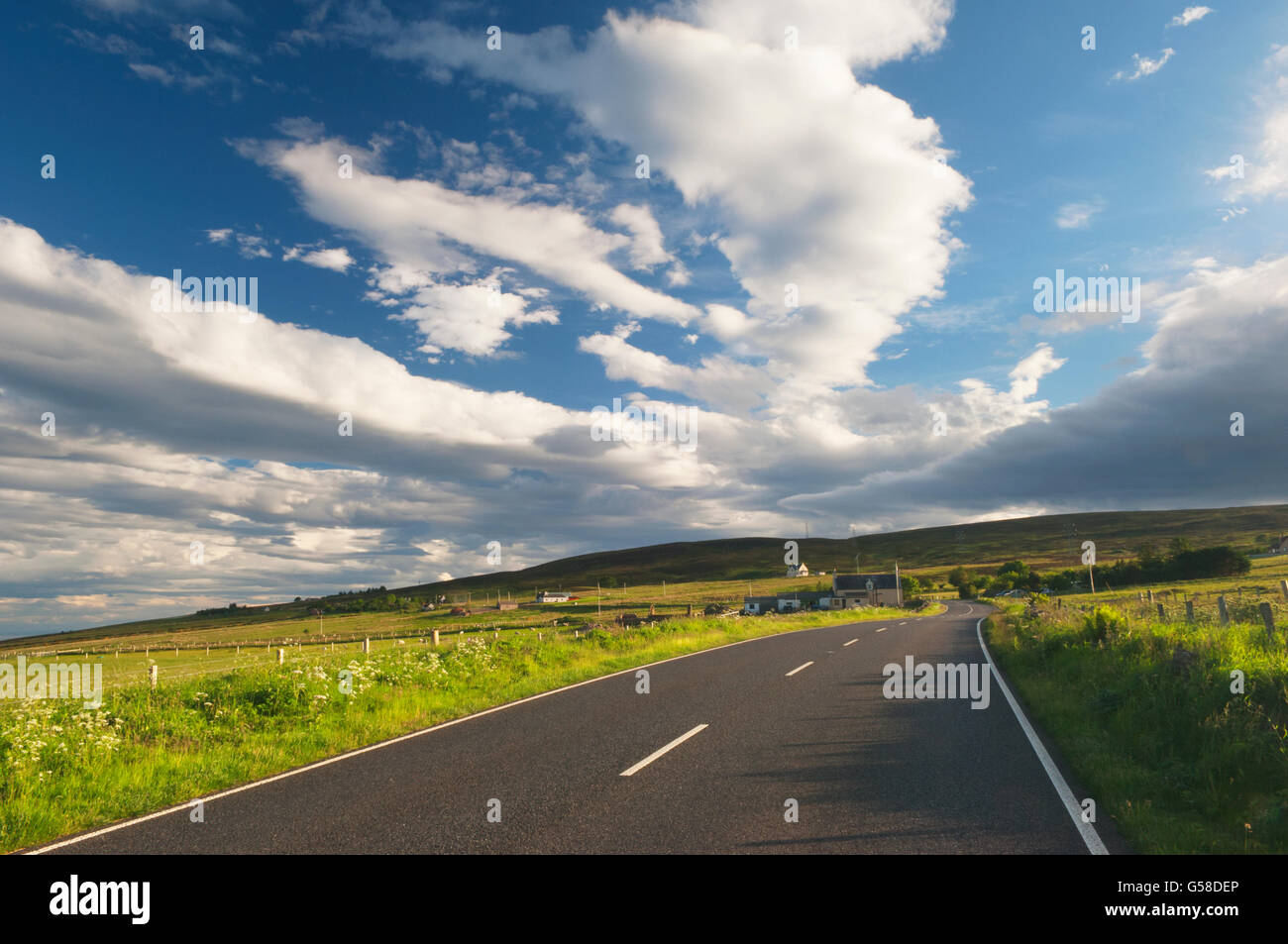 The main A9 road near Dunbeath, Caithness, Scotland - this road is part of the North Coast 500 Route. - Stock Image