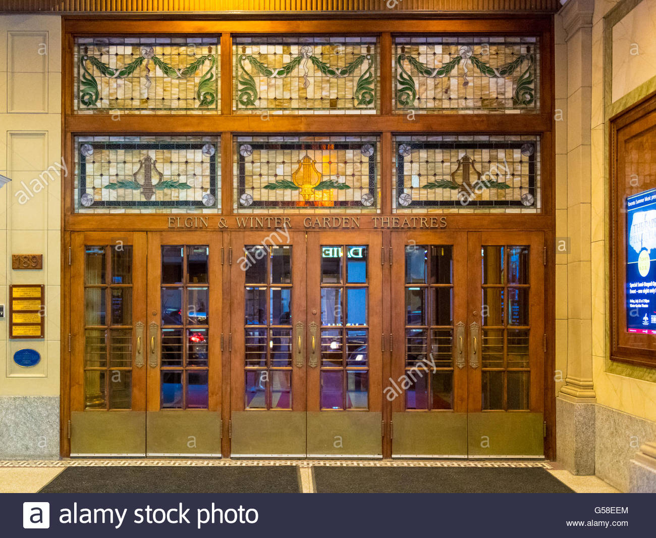 Elgin and Winter Garden details. They are the last surviving Edwardian stacked theatres in the world.   The Elgin Stock Photo