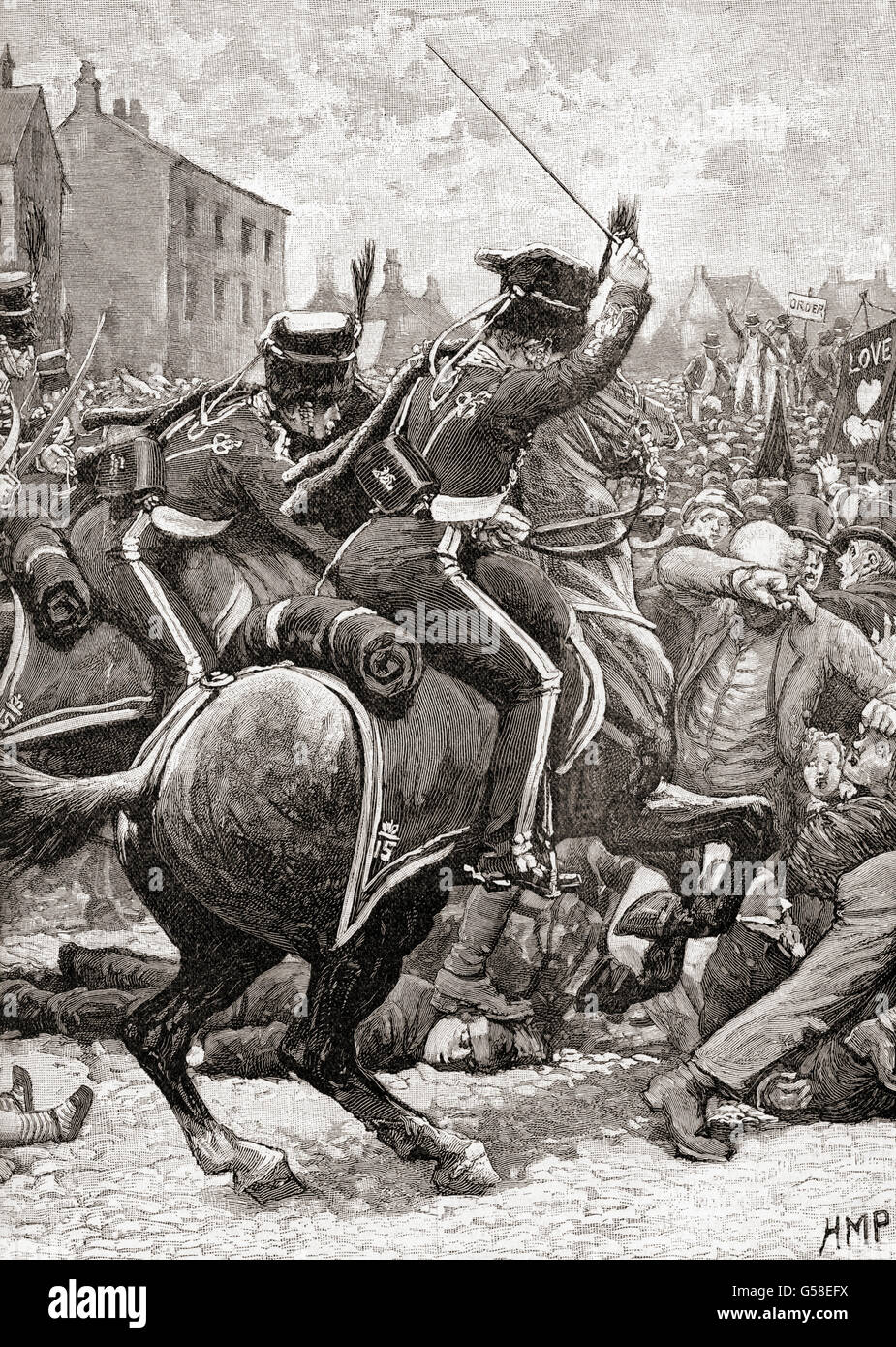 Hussars charging into the crowd at The Peterloo Massacre, St Peter's Field, Manchester, England,  16 August - Stock Image