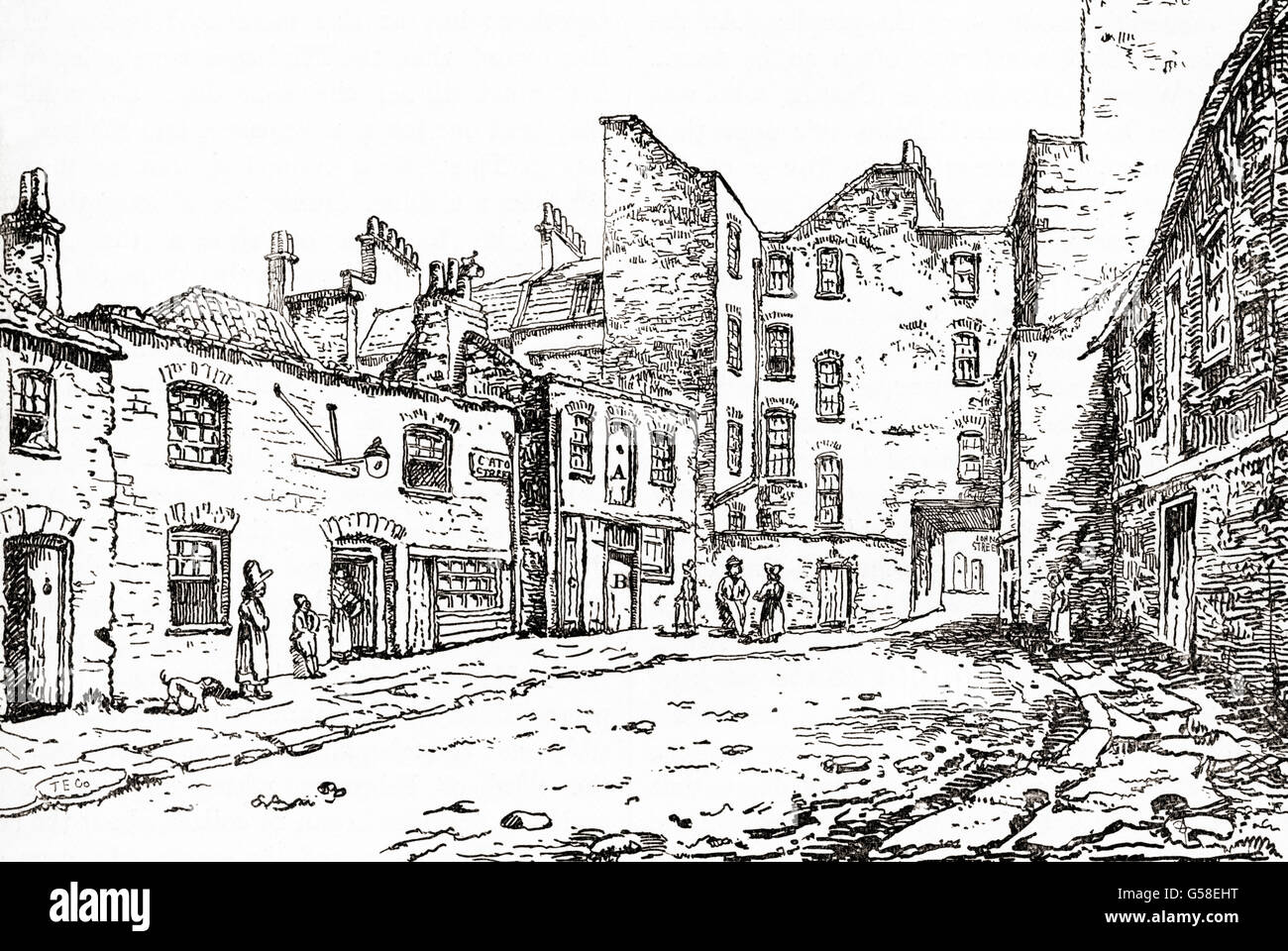 View of Cato Street, London, England in the 19th century showing the stable in which the conspirators were captured. - Stock Image