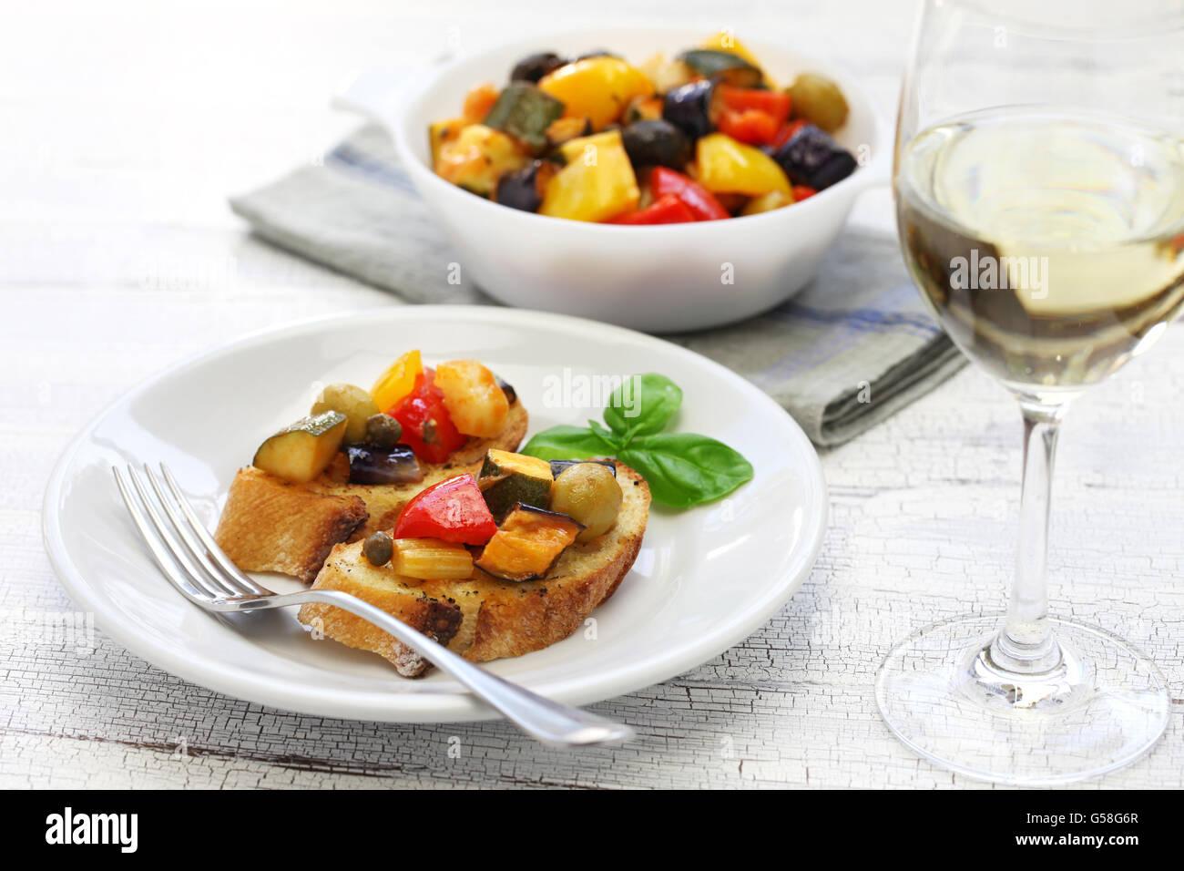 caponata, italian sicilian eggplant aubergine vegetable stew - Stock Image