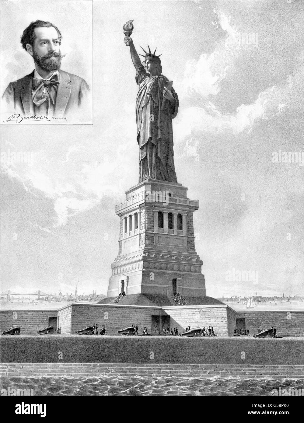 Statue of Liberty, 1886. Illustration commemorating the inauguration of the The Statue of Liberty on 28th October - Stock Image