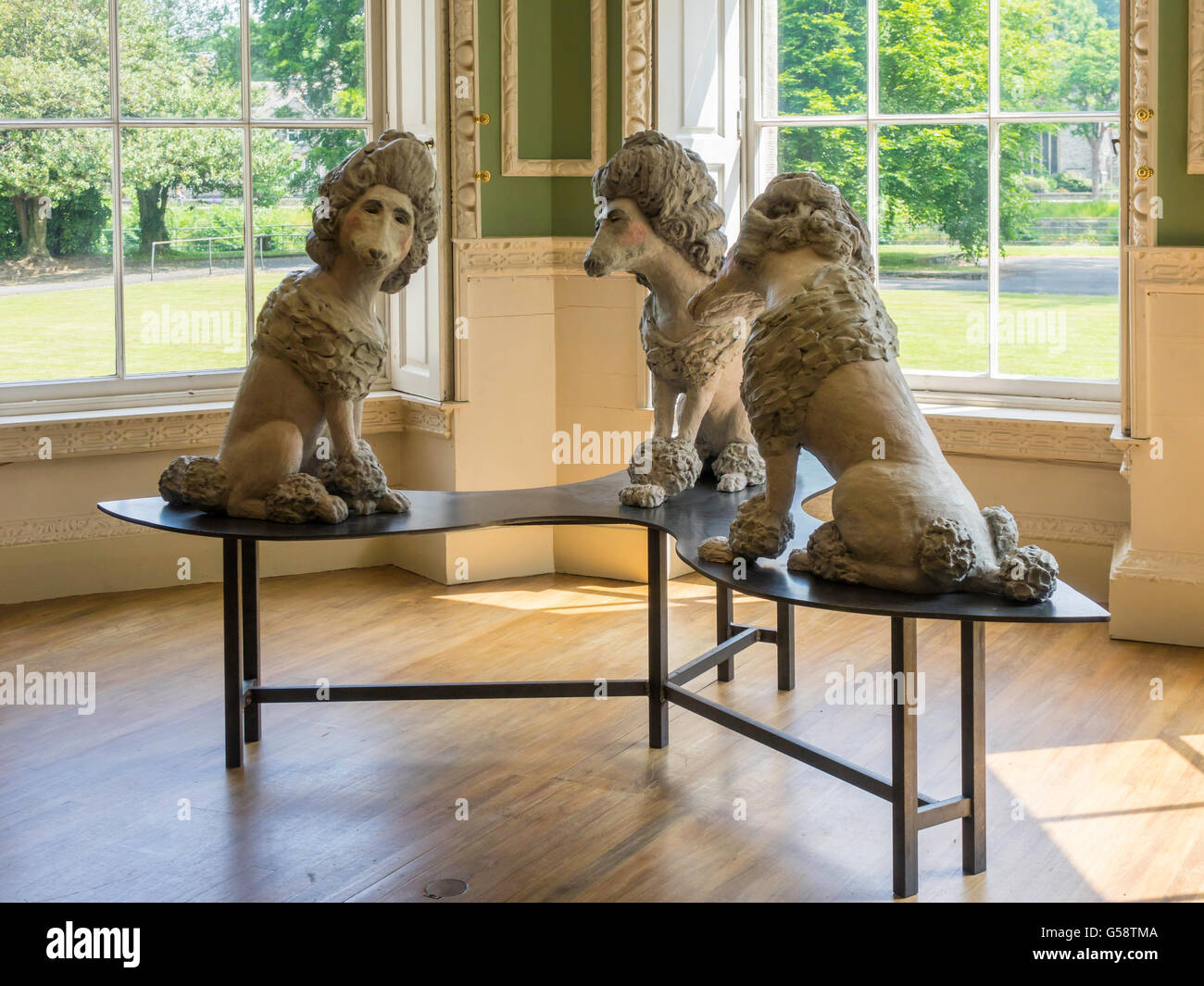 Sculpture Waldegrave Poodles by Laura Ford 2015 on display at the Abbot Hall Art Gallery Kendal Cumbria 2015 - Stock Image