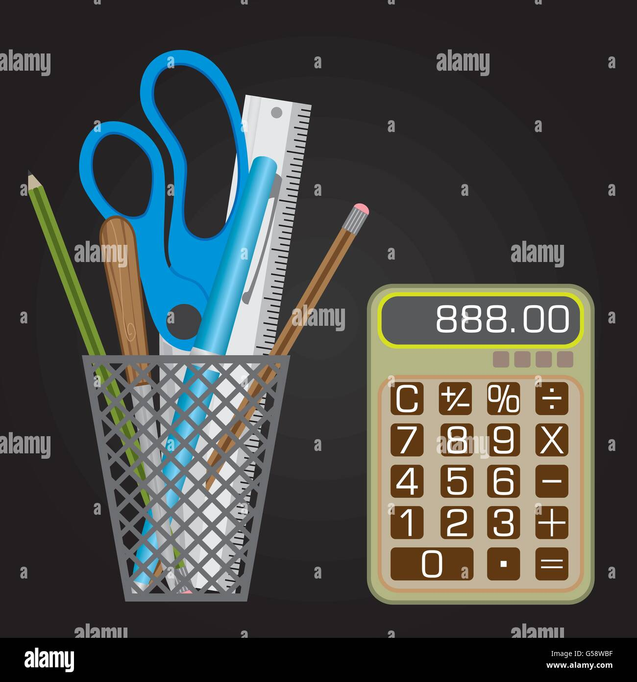 Mesh style Pen holder with small calculator - Stock Image