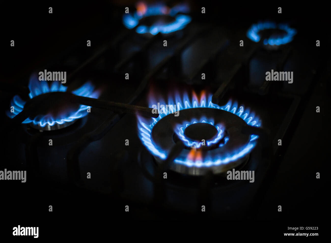 Blue Natural Gas Flames - Stock Image
