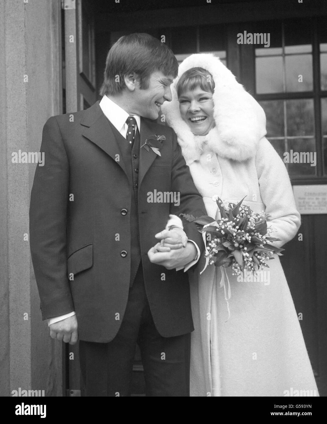 Michael Williams and Judi Dench Wedding Stock Photo