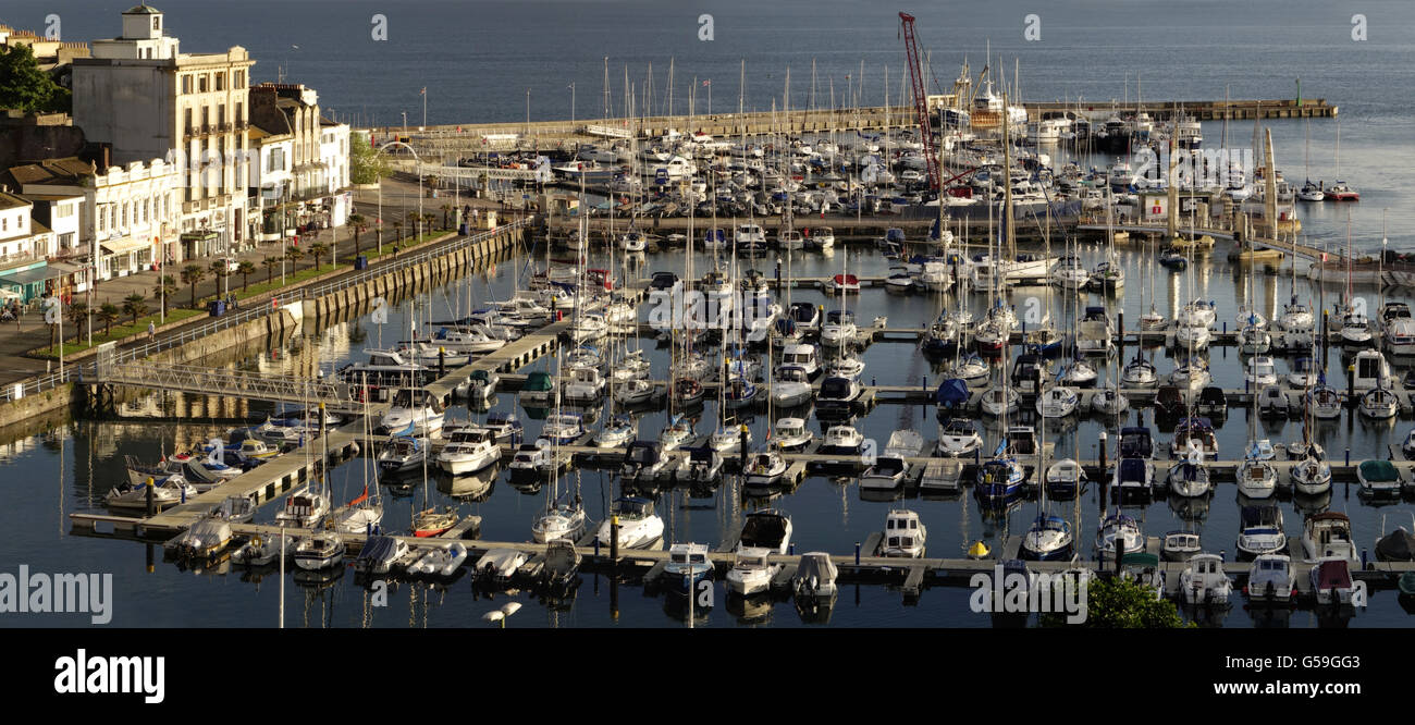 GB - DEVON: Torquay Harbour Panorama - Stock Image