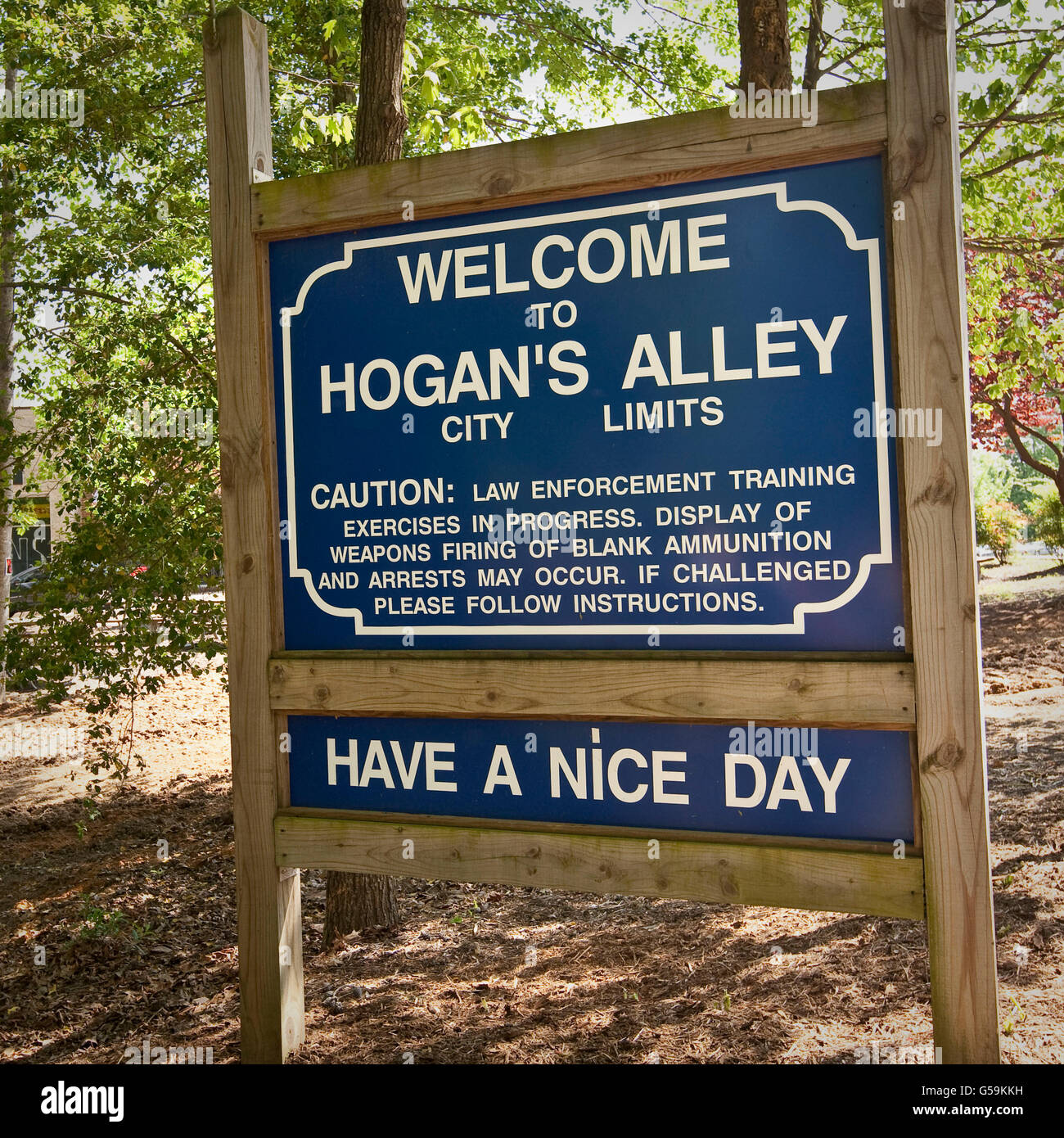 Sign welcoming visitors to Hogan's Alley, tactical training facility at the FBI National Academy in Quantico, - Stock Image