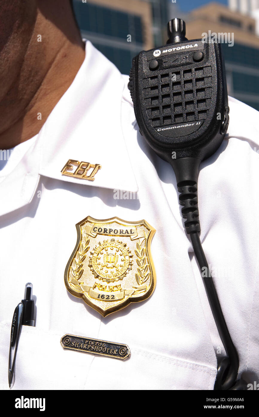 View of an FBI Police officer's shield at the FBI Academy in Quantico, VA, USA, 12 May 2009. - Stock Image