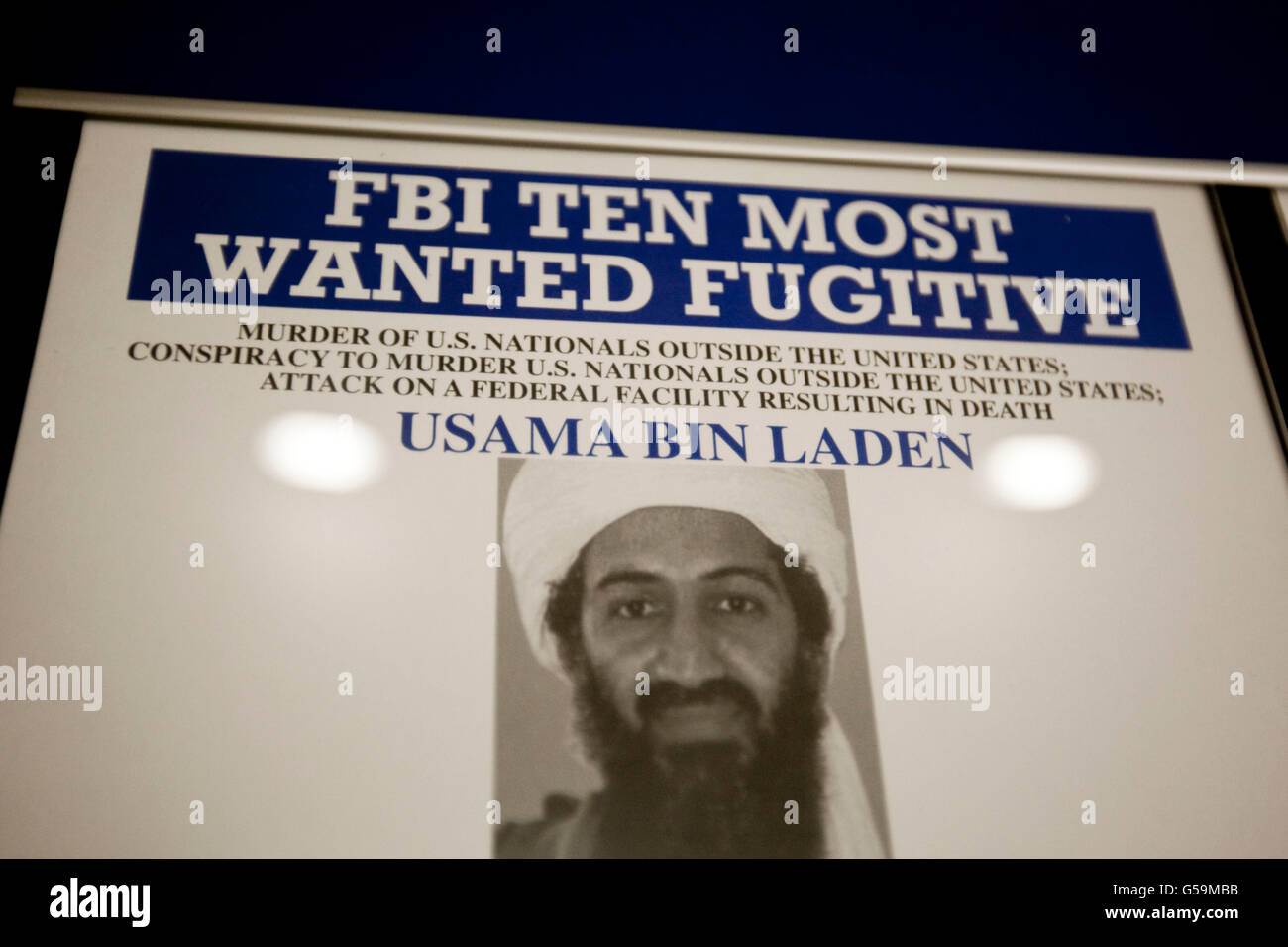 View of a display listing the FBI's 10 most wanted fugitives on a wall at the FBI National Academy in Quantico, - Stock Image