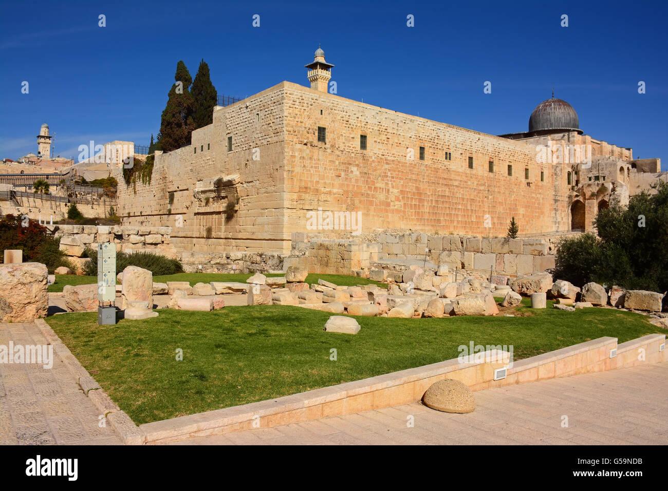 Temple mount, South  side, Jerusalem, Israel - Stock Image