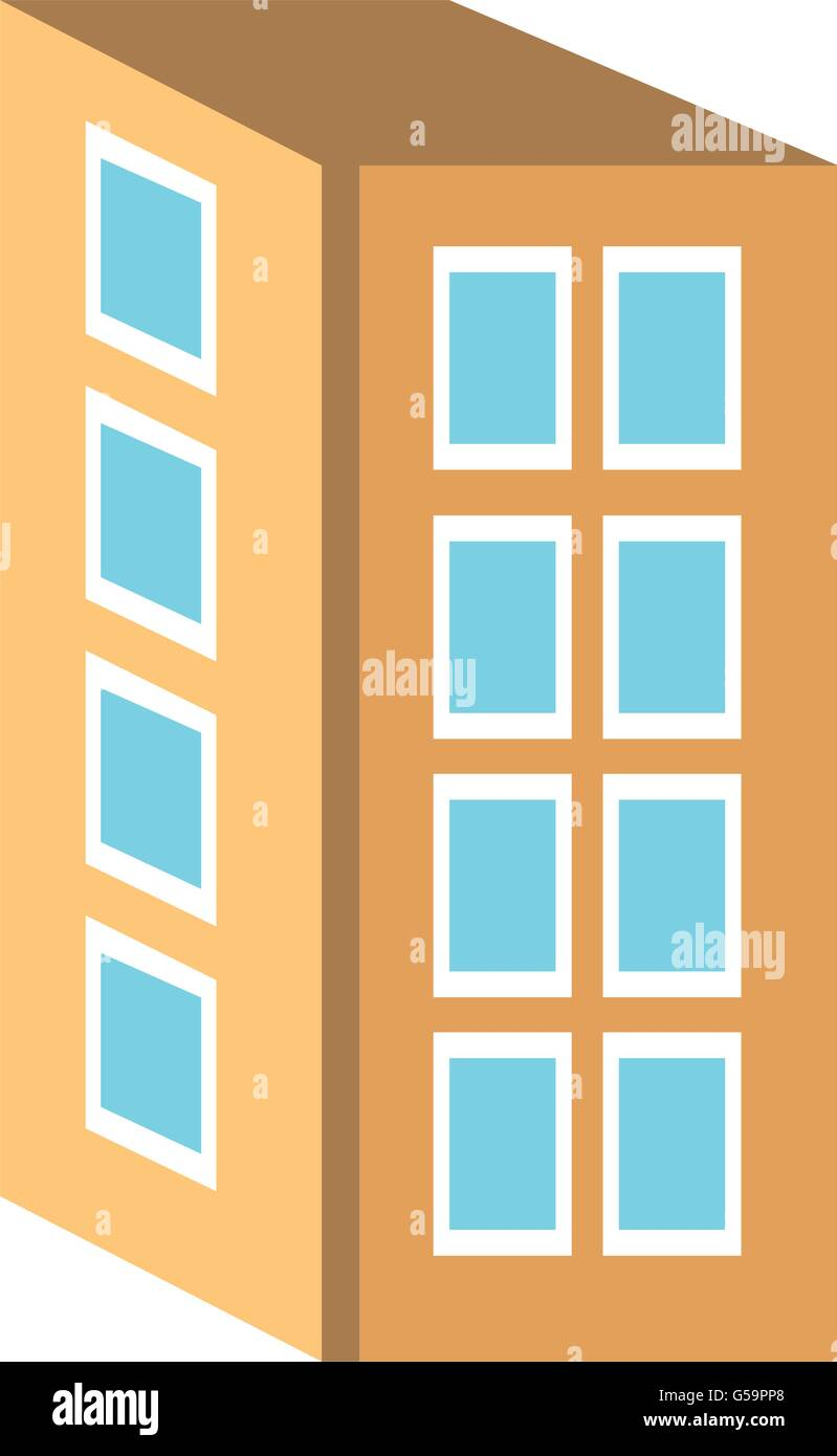 Colorful four floor buildingvector graphic