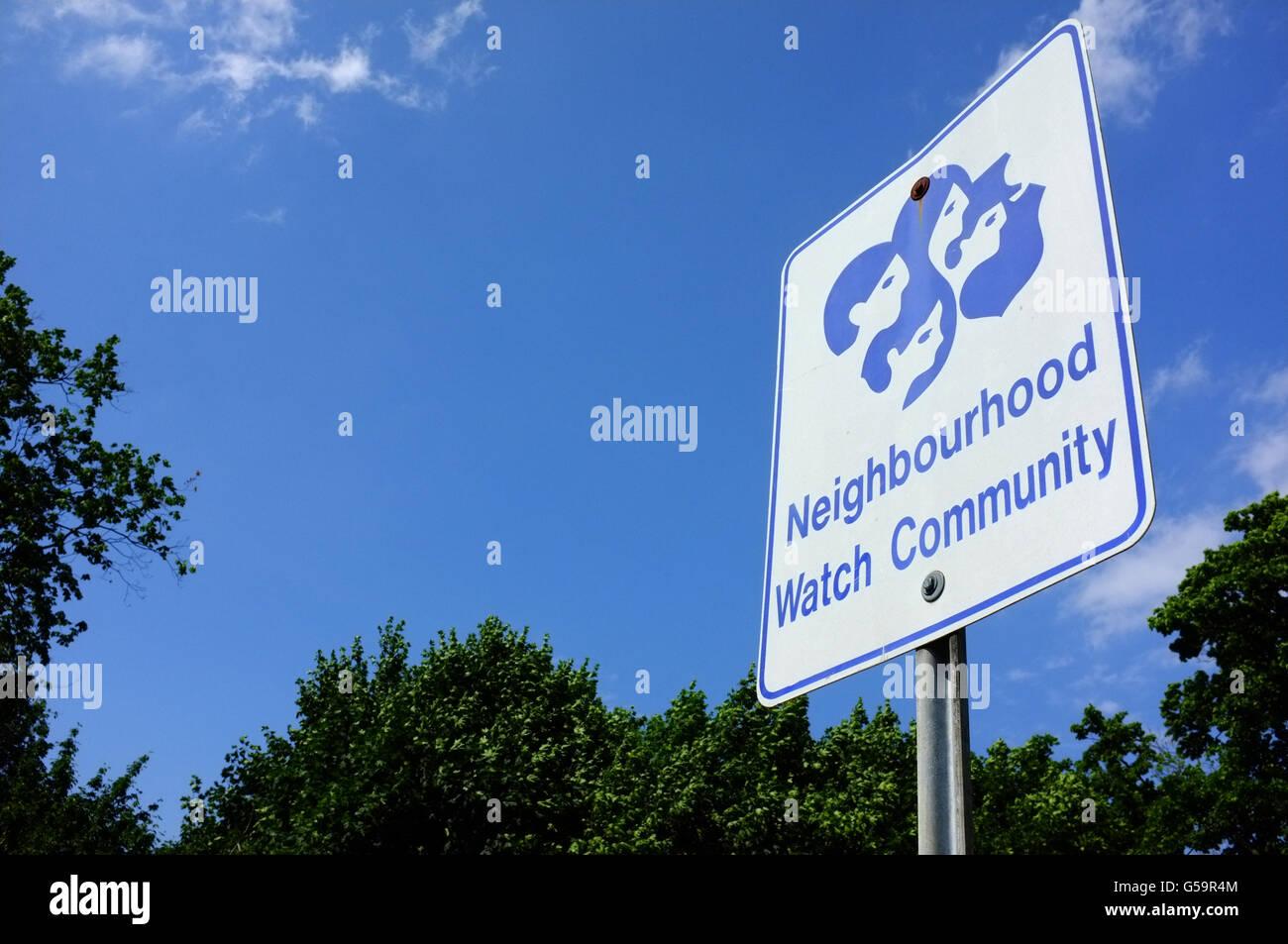 A Neighbourhood Watch Community sign in London, Ontario. - Stock Image