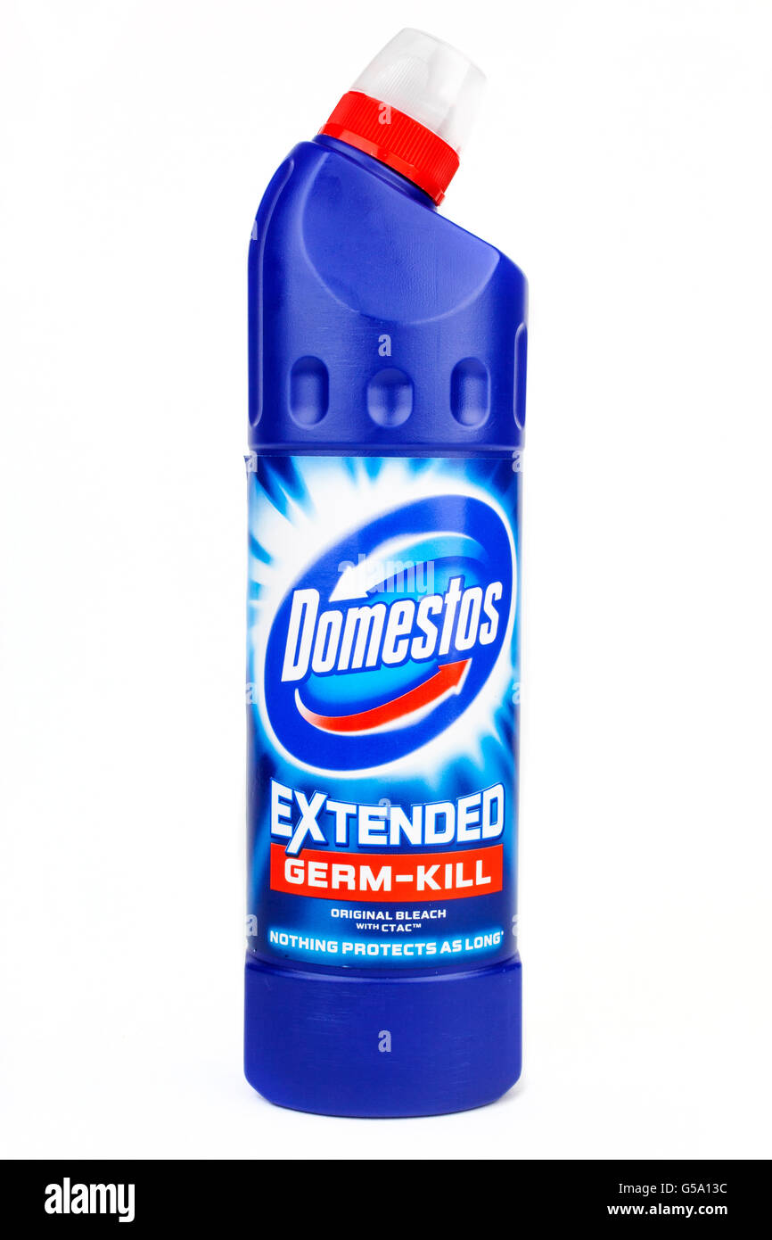 LONDON, UK - JUNE 16TH 2016: Close-up of the Domestos logo on one of their cleaning products, on 16th June 2016. - Stock Image