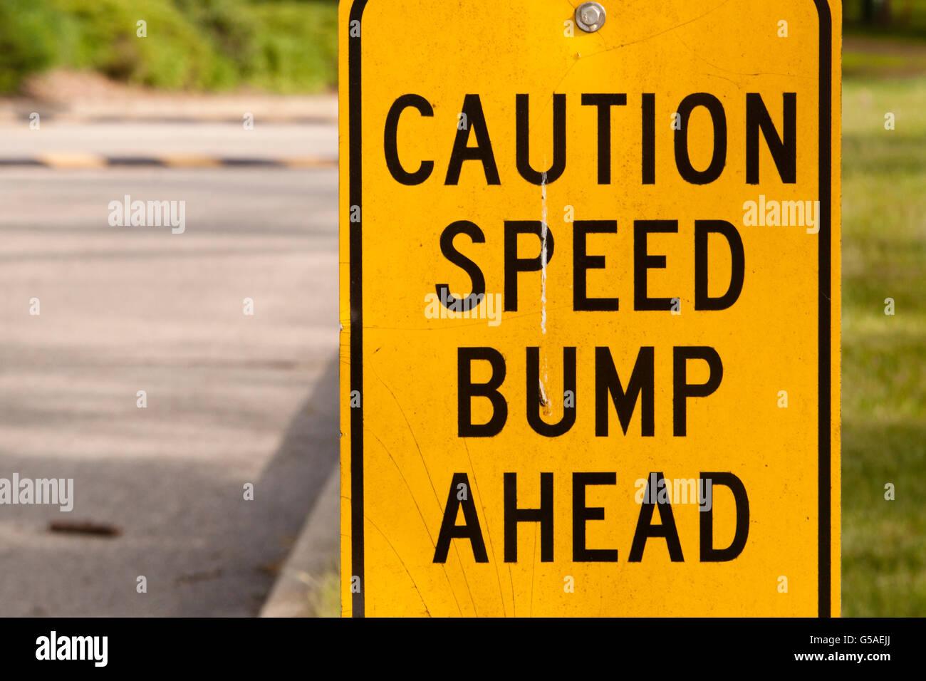Speed Bump Ahead Sign Stock Photo