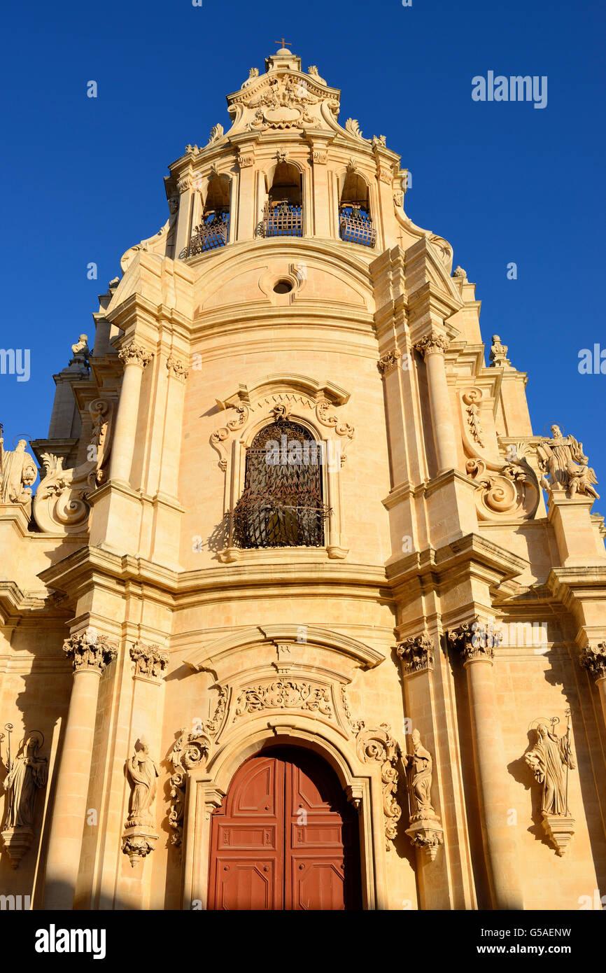 Church of San Giuseppe (Chiesa di San Giuseppe) at sunrise - Ragusa Ibla, Sicily, Italy - Stock Image