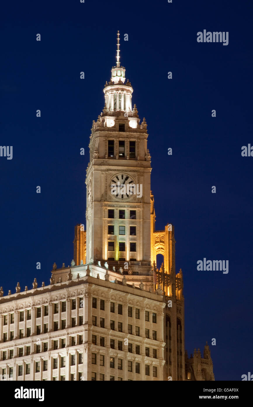 Wrigley Clock Tower Building in Chicago, Illinois at Night - Stock Image