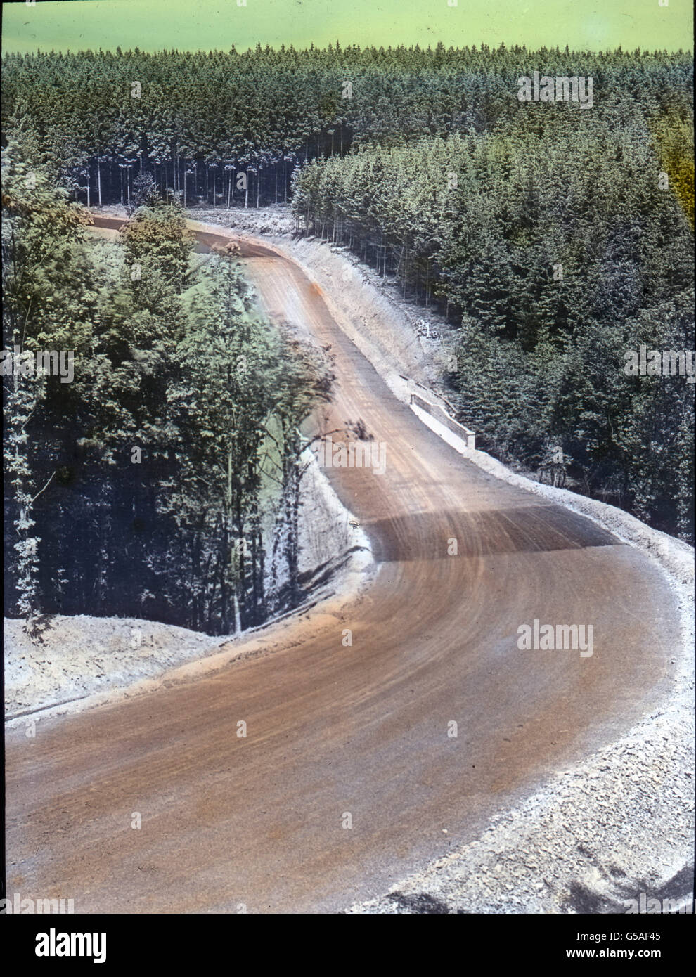 Nürburgring. Germany, 1910s, 1920s, 20th century, archive, Carl Simon, travel, history, historical, wood, forest, - Stock Image